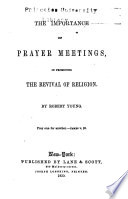 The Importance Of Prayer Meetings In Promoting The Revival Of Religion
