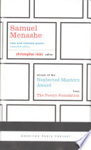 Samuel Menashe  New and Selected Poems Book