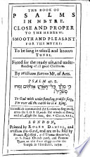 The Book of Psalmes in Metre     By William Barton Book