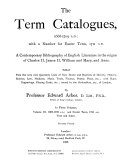 The Term Catalogues 1668 1709 A D 1697 1709 And Easter Term 1711