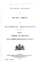 Fourth Report of the Royal Commission on Historical Manuscripts  Report and appendix