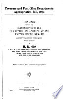 Treasury and Post Office Departments Appropriation Bill  1933  Hearings Before the Subcommittee of       72 1 on H R  9699