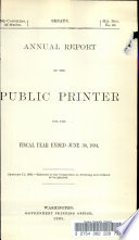 Annual Report Of The Public Printer For The Fiscal Year Ended June 30 1894