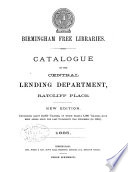 Catalogue of the Central Lending Department  Ratcliff Place