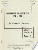 Cooperation In Agriculture 1954 1964