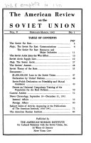 The American Review on the Soviet Union