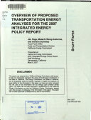 Overview of Proposed Transportation Energy Analyses for the 2007 Integrated Energy Policy Report