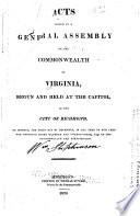 Acts Of The General Assembly Of The Commonwealth Of Virginia