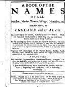 A Book of the Names of All Parishes  Market Towns  Villages     in England and Wales