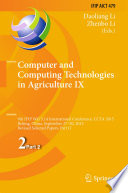 Computer And Computing Technologies In Agriculture Ix Book PDF