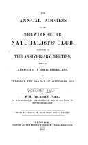 History of the Berwickshire Naturalists  Club  Instituted September 22  1831