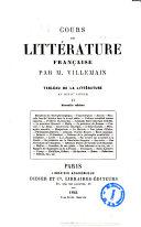 Cours de litterature francaise tableau de la litterature au 18. siecle par M. Villemain