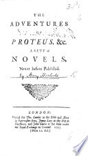 The Adventures Of Proteus A Sett Of Novels Etc