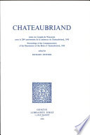 Chateaubriand  Actes du Congr  s de Wisconsin pour le 200e anniversaire de la naissance de Chateaubriand  1968