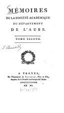 Mémoires de la Société Académique du Departement de l'Aube