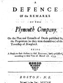 Pdf A Defence of the Remarks of the Plymouth Company, on the Plan and Extracts of Deeds published by the Proprietors, as they term themselves, of the Township of Brunswick. Being a reply to their Answer to said Remarks, etc