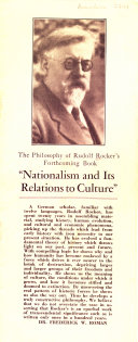 The Philosophy of Rudolph Rocker's Forthcoming Book, 'Nationalism and Its Relations to Culture.'.
