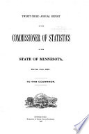 Annual Report Of The Commissioner Of Statistics Of The State Of Minnesota For The Year To The Governor