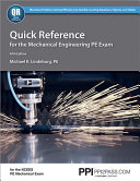 Quick Reference for the Mechanical Engineering PE Exam