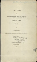 Five Years of Alexander Hamilton's Public Life, 1786-1791