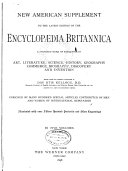 New American Supplement to the Latest Edition of the Encyclop  dia Britannica