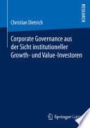 Corporate Governance aus der Sicht institutioneller Growth- und Value-Investoren
