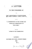 A Letter To The Publisher Of The Quarterly Review