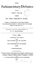 The Parliamentary Debates from the Year 1803 to the Present Time   07
