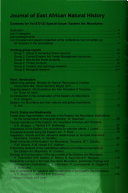 Journal Of East African Natural History