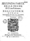 Pdf Le deche di T. Liuio Padouano dell'istorie romane, diuise in due parti. Tradotte in lingua toscana da m. Iacopo Nardi...