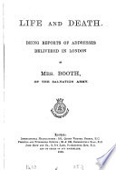 Life and death  reports of addresses   Salvation army