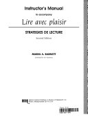 Instructor's manual to accompany Lire avec plaisir, strategies de lecture, second edition