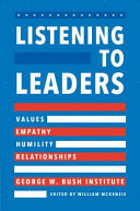 link to Listening to leaders : values, empathy, humility, and relationships in the TCC library catalog