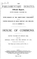 The Parliamentary Debates  official Report   Book