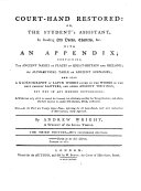 Court Hand Restored  Or  The Student s Assistant in Reading Old Deeds  Charters   c   with an Appendix