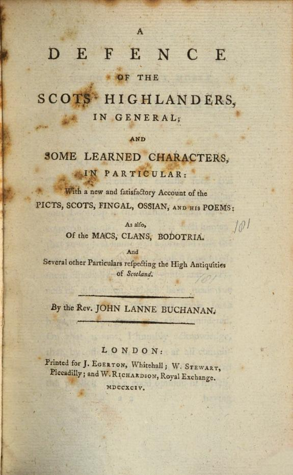 A Defence of the Scots Highlanders  in General