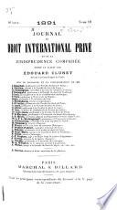 Journal du droit international privé et de la jurisprudence comparée