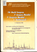 7th World Congress, 1-4 September 1986: New trends in working-time arrangements