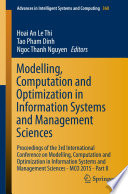 Modelling  Computation and Optimization in Information Systems and Management Sciences Book