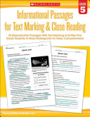 20 Reproducible Passages with Text Marking Activities That Guide Students to Read Strategically for Deep Comprehension
