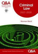 Cover of Qa Criminal Law 2007-2008