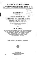 District Of Columbia Appropriation Bill For 1944 Hearings 78th Congress 1st Session