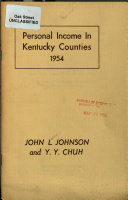 Personal Income in Kentucky Counties  1954