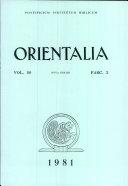 Orientalia: Vol. 50