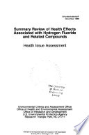 Summary Review Of Health Effects Associated With Hydrogen Fluoride And Related Compoounds Book PDF