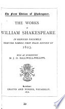 The Works of William Shakespeare in Reduced Facsimile from the Famous Folio Edition of 1623 Book