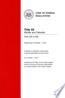 Title 50 Wildlife And Fisheries Parts 228 To 599 Revised As Of October 1 2013