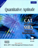Quantitative Aptitude For Cat And Other Mba Entrance Examinations  3 E  With Cd