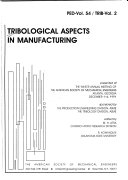 Tribological Aspects in Manufacturing