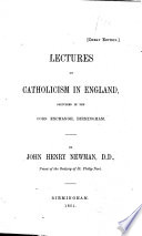 Lectures on Catholicism in England